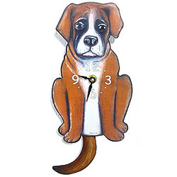 Tail-Wagging Boxer Pendulum Clock
