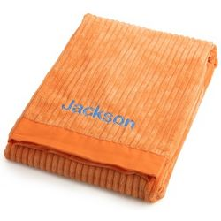 Bright Orange Ribbed Blanket