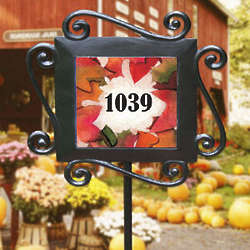 Personalized Falling Leaves Garden Stake