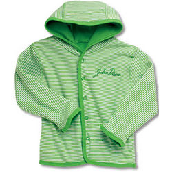 John Deere Infant Apple Green Striped Snap Front Jacket