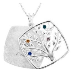Mother's Love Four Birthstone Family Tree Necklace
