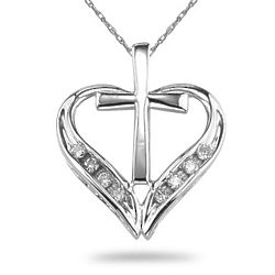 Cross and Heart Necklace in Sterling Silver with Sapphires