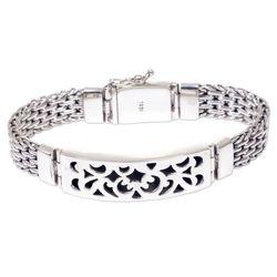 Men's Balinese Knight Sterling Silver Pendant Bracelet