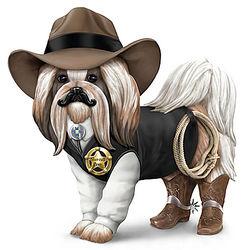 Cowboy Sheriff Shih Tzu Figurine