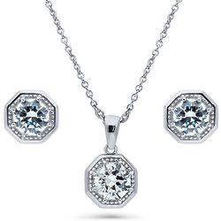 Swarovski Zirconia Silver Art Deco Necklace Earrings Set