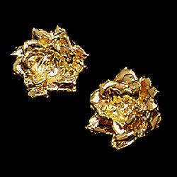 Gold Plated Preserved Rose Earrrings