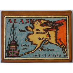 Alaska Map Leather Photo Album in Color