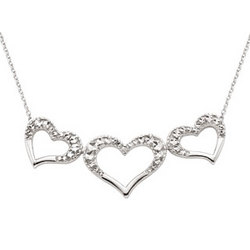 14K White Gold Three Heart Moveable Pendant