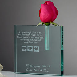 A Mother's Love Blooms Personalized Bud Vase