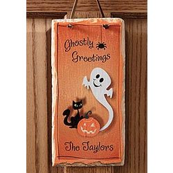 Personalized Halloween Ghost Slate Wall Plaque