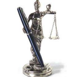 Chrome Plated Lady Justice Pen Holder