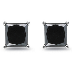 Princess Black Diamond Stud Earrings in Platinum