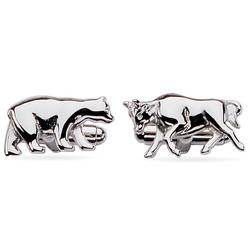 Bear and Bull Sterling Silver Cuff Links