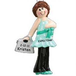 Personalized Pregnant Brunette Ornament