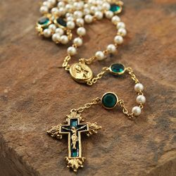 Emerald Swarovski Crystal and Pearl Vatican Rosary