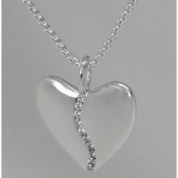 Large Silver Harmony Heart with 10 Diamond Center Necklace