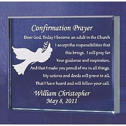 Personalized Confirmation Prayer Glass Plaque