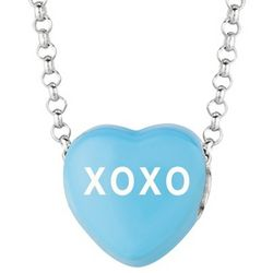 Blue Enamel Hugs and Kisses Sweethearts Necklace