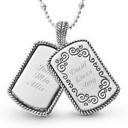 Expressions Scroll Dog Tag Necklace