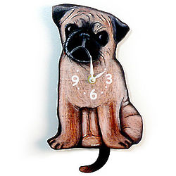 Tail-Wagging Pug Pendulum Clock