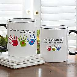 Kids Handprints Personalized Teacher Coffee Mug
