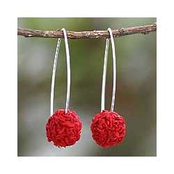 Cherry Red Blooms Silk Dangle Earrings
