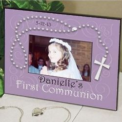Personalized First Communion Rosary Picture Frame