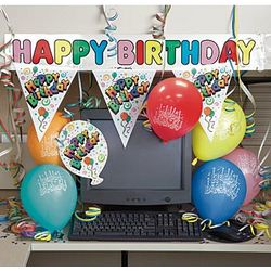 Happy Birthday Colored Balloons Cubicle Decorating Kit