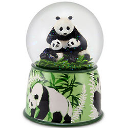 Mother Panda and Cubs Animated Musical Globe