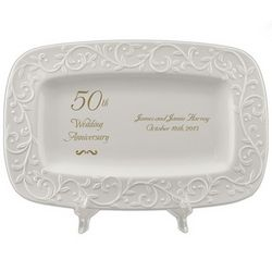 50th Golden Wedding Anniversary Carved Porcelain Tray