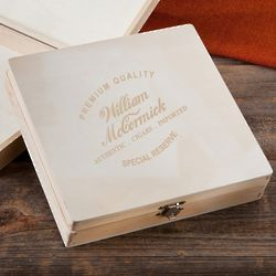 Personalized Wood Cigar Memory Box