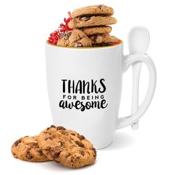 Thanks for Being Awesome Gold Rimmed Bistro Mug and Cookies