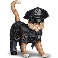 "Paw and Order 4"" Police Cat Figurine"