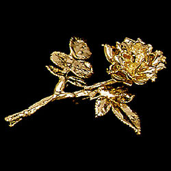 Gold Rose Pin with Leaves