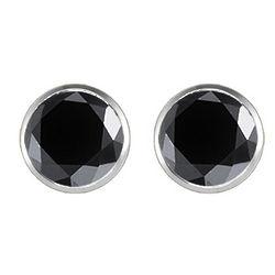 0.5 Ct Round Black Diamond Stud Earrings in 18K White Gold