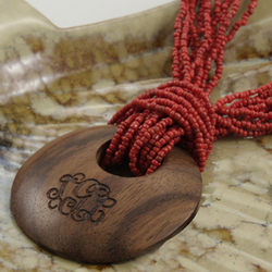 Engraved Initial Wood Pendant on Beaded Necklace