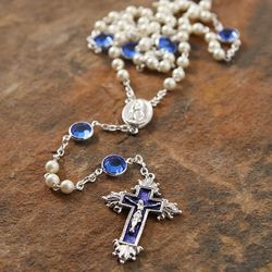 Sapphire Swarovski Crystal and Pearl Rosary
