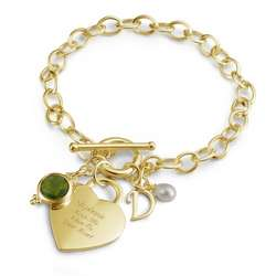 Gold Over Sterling Heart Charm Bracelet