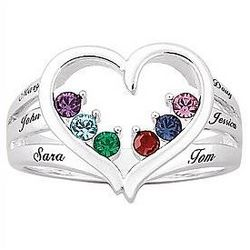 Personalized Mother's Birthstone Heart Ring