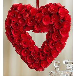 Red Rosebud Heart Wreath