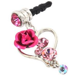 Heart and Rose 3.5mm Headphone Jack Stopple Charm