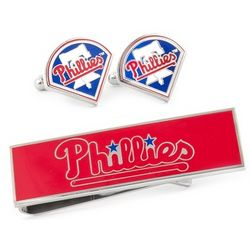 Personalized Philadelphia Phillies Cufflinks and Money Clip