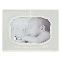 Bless This Child Porcelain Cross Picture Frame