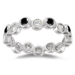 White and Black Diamond Ring in 14K White Gold