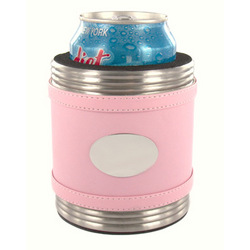 Personalized Pink Leather Can Koozie