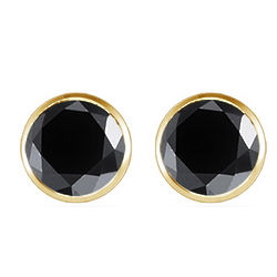 0.25 Ct Round Black Diamond Stud Earrings in 14K Yellow Gold