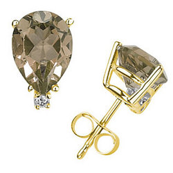 Smokey Quartz and Diamond Stud Earrings in 14k Yellow Gold