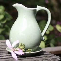 """Classicism"" Celadon Ceramic Pitcher and Plate"