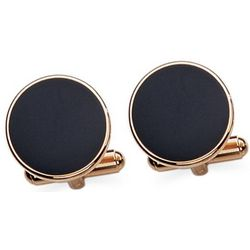 Onyx and 23k Gold Electroplated Cuff Links