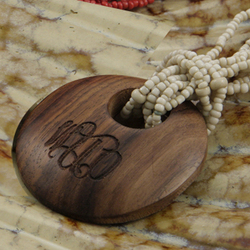 Small Engraved Wood Pendant on Beaded Necklace